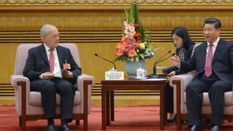 Bundesrat Johann Schneider-Ammann in Peking, wo er auch mit dem chinesischen Staatspräsidenten Xi Jinping zusammentraf.