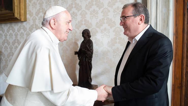 In Rom trifft CVP-Politiker Massimo Santucci Papst Franziskus höchstpersönlich.
