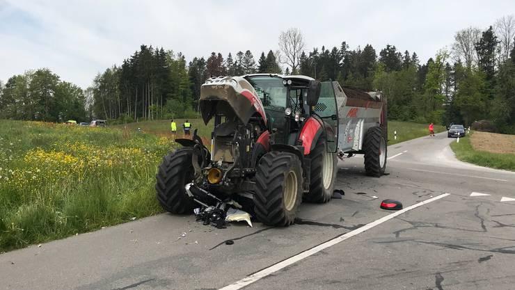 Endlage der verunfallten Fahrzeuge.