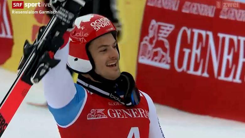 Loic Meillard fährt in Garmisch auf das Podest