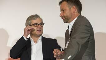 Markus Somm (links) mit dem abgesetzten NZZ-Chefredaktor Markus Spillmann am Verleger-Kongress 2014.
