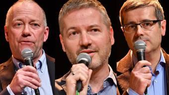 Im ersten Wahlgang wiedergewählt (von links): Martin Wey (CVP), Thomas Marbet (SP) und Benvenuto Savoldelli (FDP)