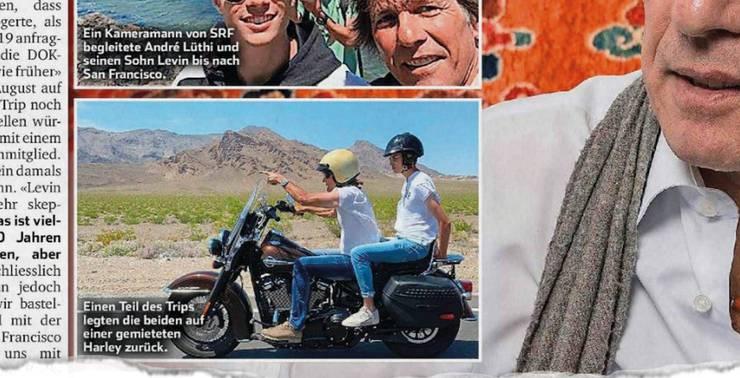 André Lüthi und sein Sohn auf einer Harley.