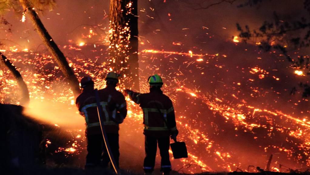 dpatopbilder - Wegen eines Waldbrands in Südfrankreich haben zahlreiche Menschen ihre Häuser verlassen müssen. Foto: Bob Edme/AP/dpa
