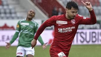 Jubelt Gianluca Frontino (hier im Thun-Dress) bald für den FC Aarau?