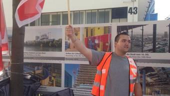Unia bei der Roche-Baustelle