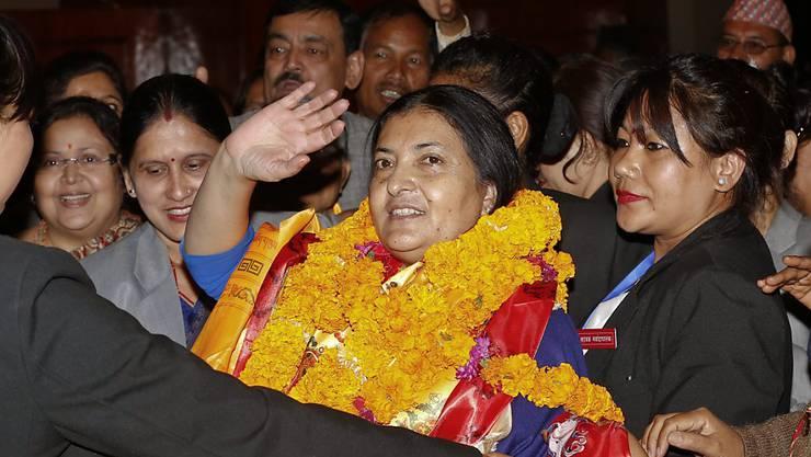 Nepals Präsidentin Bidhya Devi Bhandari nach der Wahl