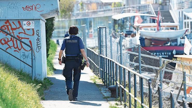 Wie hier am Dreiländereck patrouillierten viele Polizisten.