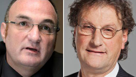 Der ehemalige Stadtpräsident von La Chaux de Fonds Jean-Charles Legrix (links) und Badens Stapi Geri Müller.