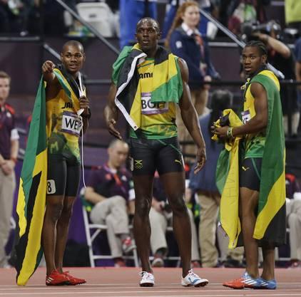 Die drei Jamaikanre im Ziel