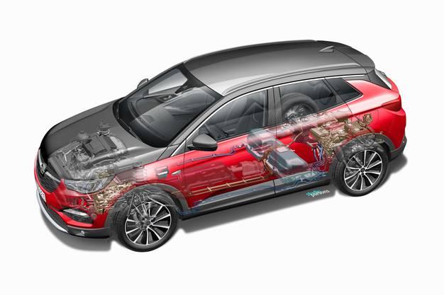 Für den zuschaltbaren Allradantrieb sitzt ein E-Motor an der Hinterachse, ein zweiter ist im Getriebe integriert und treibt die zusammen mit dem Benziner die Vorderachse an.