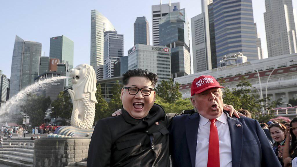 Die Doppelgänger von Kim Jong Un und Donald Trump sind schon in Singapur, und sind guter Dinge.