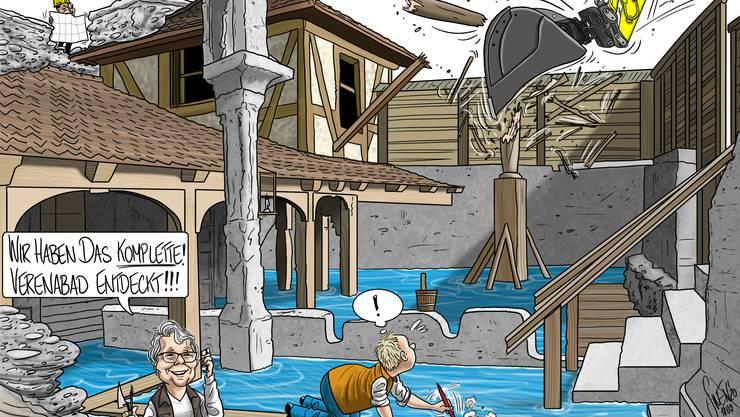 Silvan Wegmanns karikaturistischer Blick auf den Umgang mit den Funden im Bäderquartier.