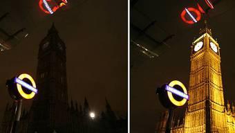 Gebäude in London mit und ohne Beleuchtung (Archiv)