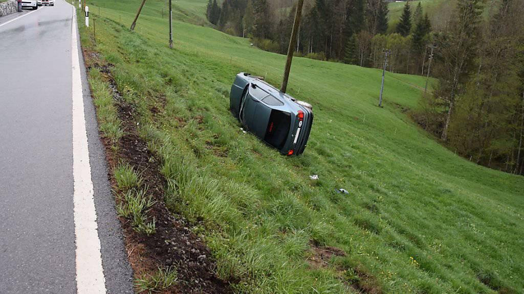Alle vier Insassen blieben unverletzt. Das Auto überschlug sich und kam an einem Strommasten zum Stillstand.