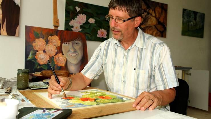 Seit fast 30 Jahren malt Daniel Gerhard Aquarelle, in Acryl pinselt er erst seit 3 Jahren. WUA