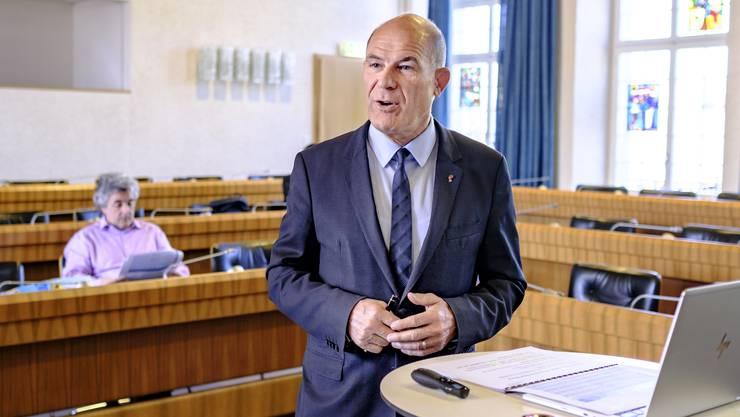 Der Baselbieter Finanzdirektor Anton Lauber (CVP) anlässlich der Medienkonferenz zur Staatsrechnung 2019.