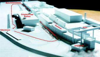 So sieht das Modell des Gateways bei der Dietiker Ortsgüteranlage beim Rangierbahnhof aus