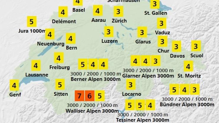 Der UV-Index von MeteoSchweiz vom 17.4. zeigt auch im Flachland Intensitäten von 3 bis 4. Das bedeutet: Schutz erforderlich (Hut, T-Shirt, Sonnenbrille, Sonnencreme). (Grafik Meteoschweiz)