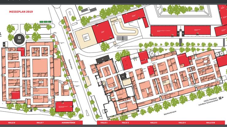 Der Messeplan der HESO zeigt, wo sich die Hallen und die entsprechenden Ausstellungen befinden.