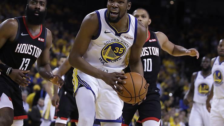 Kevin Durant (im Vordergrund) steht Golden State gegen Houston nicht mehr zur Verfügung