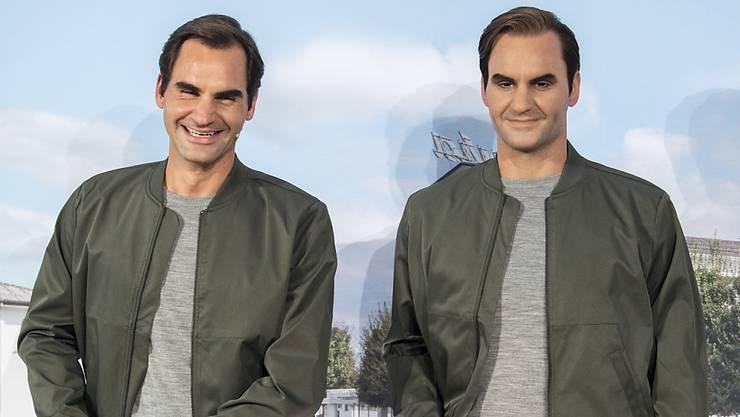 Roger Federer begegnet an einem Sponsoren-Termin seinem künstlichen Ebenbild - und wird über das Resultat der Swiss-Indoors-Auslosung informiert