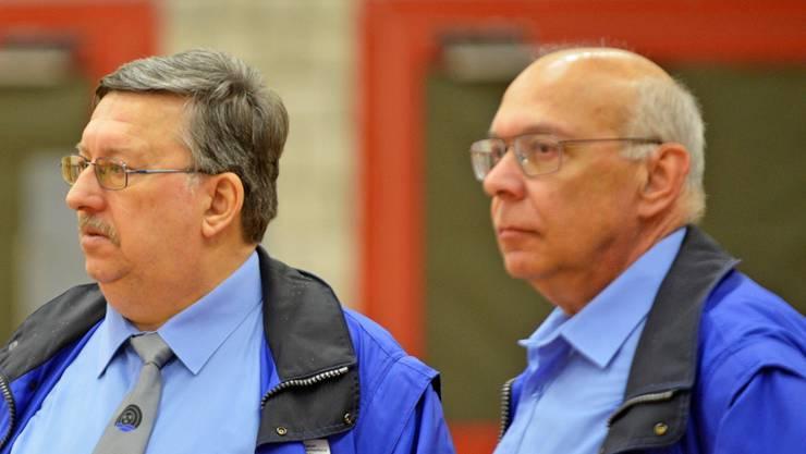 Kantonalpräsident Victor Hüsser (l.) und Leistungssportchef Marcel Brunner stehen vor einer ruhigen Delegiertenversammlung in Döttingen.
