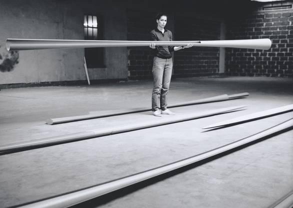 Isa Genzken 1982 in ihrem Atelier in Düsseldorf.