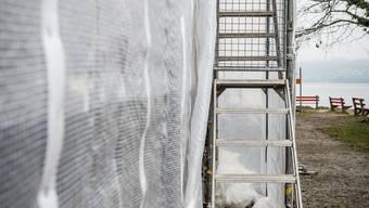 Ein riesiger, mit Plastikplanen eingepackter Quader steht auf der Delphin-Halbinsel am Hallwilersee. Was verbirgt sich hinter der Gittertüre, die man über eine Gerüsttreppe erreicht?