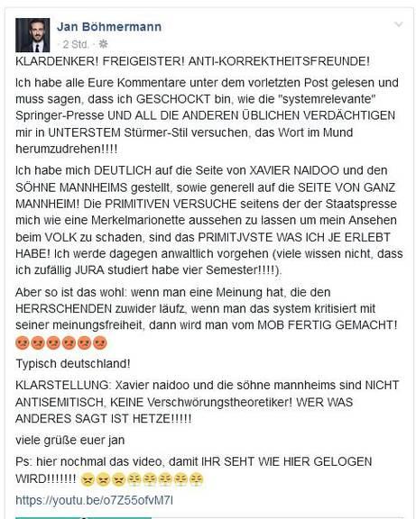 Quelle: Facebook Jan Böhmermann