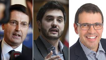 SVP-Präsident Thomas Burgherr, SP-Co-Präsident Cédric Wermuth und FDP-Präsident Matthias Jauslin.