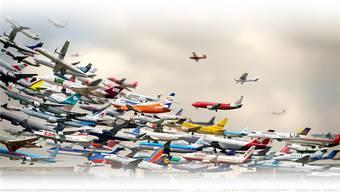 Gerangel am Flughimmel – ob diese Maschinen alle Platz haben werden?