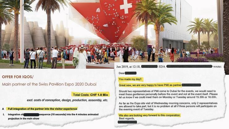 Die Redaktion von CH Media hat Einblick in den Mailverkehr zwischen dem Aussendepartement und Philip Morris erhalten. Rechts: Die Reaktion einer EDA-Mitarbeiterin auf die Mitteilung, dass Philip Morris das Sponsoring für Dubai 2020 unterschrieben hat.