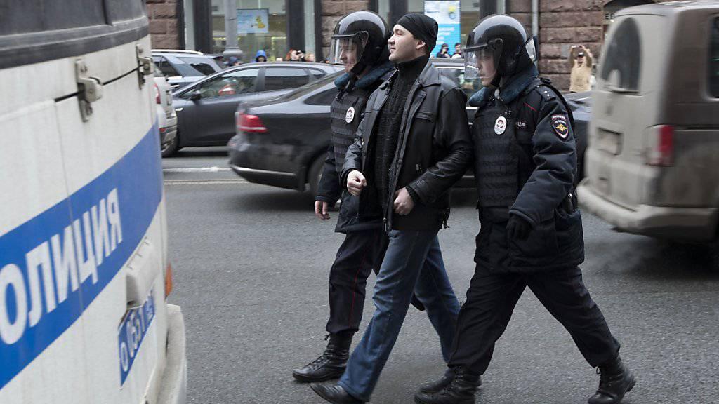 In der Moskauer Innenstadt wurden erneut rund 30 Menschen festgenommen.