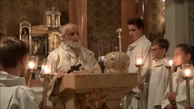 Patriarch Gregorius während der letzten Sequenz des Evangeliums