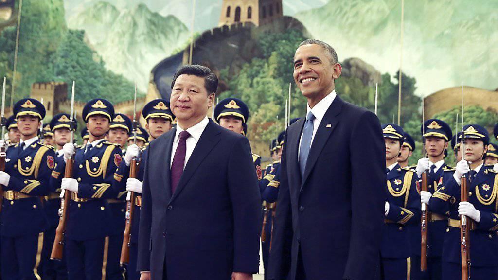 Repräsentieren die Länder mit zusammen 38 Prozent des weltweiten CO2-Ausstosses: US-Präsident Barack Obama und sein chinesischer Amtskollege Xi Jinping. (Archivbild)