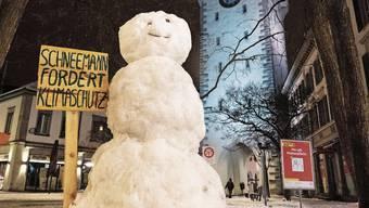 Mit diesem Schneemann hat Alexandra Neumann diese Woche auf den Klimawandel aufmerksam gemacht.