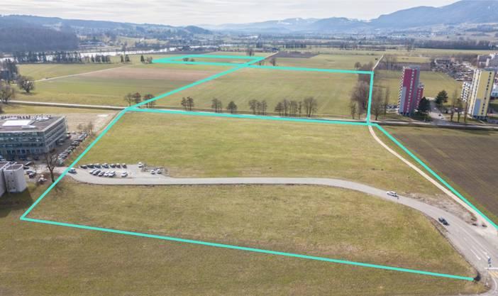 Die drei Stadtmist-Teildeponien: Eingezeichnet im Vordergrund (an der Westtangente) «Unterhof», in der Mitte «Spitelfeld» und dahinter «Oberer Einschlag».