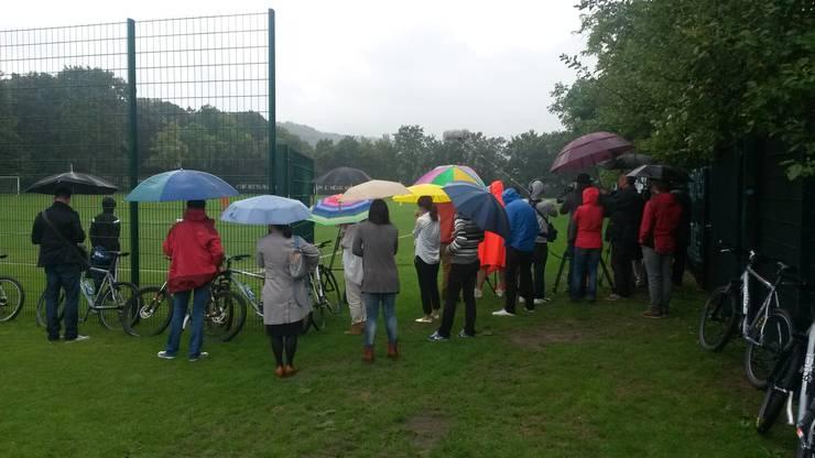 Das Morgentraining des FC Basels fand in strömendem Regen statt.
