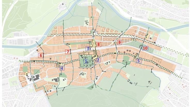 Mit dem Stadtpark verfügt es über eine grüne Lunge (1), mit dem Stadt- und Bahnhofsplatz (2 und 3) soll ein attraktives Zentrum entstehen. Dank der städtebaulichen Aufwertung des Kesslerplatzes und der Kreuzung Gasometerbrücke/Zürcherstrasse (4 und 5) sollen attraktive Eingänge zur Stadt entstehen. Mit den Querverbindungen (6 - 10) soll der Schlieremer Berg mit dem Naherholungsgebiet an der Limmat erschlossen werden.