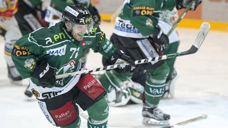 Diego Schwarzenbach im ersten Playoff-Halbfinalspiel der National League B zwischen dem EHC Olten und dem HC Ajoie.