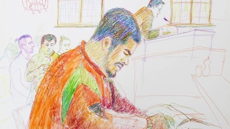 """So sah """"Carlos"""" die Gerichtszeichnerin Linda Grädel vor dem Bezriksgericht Zürich."""