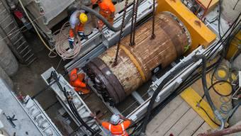 Tunnelbohrmaschine für den Emmedüker Biberist-Derendingen wird installiert