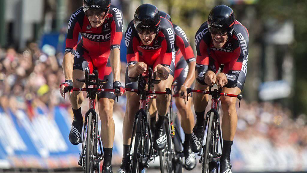 Das amerikanisch-schweizerische Team BMC mit den beiden Schweizern Silvan Dillier und Stefan Küng in seinen Reihen sicherte sich an der Strassen-WM in Richmond (USA) Gold im Teamzeitfahren für UCI-Teams