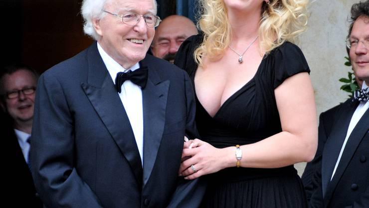 Wolfgang Wagner mit Tochter Katharina  bei den Richard Wagner Festspielen 2008 in Bayreuth am 25.07.2008.