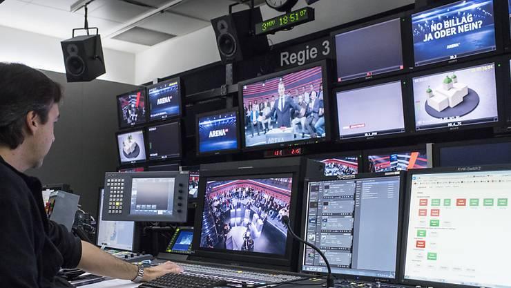 """Blick in die Senderegie bei einer Aufzeichnung der SRF-Sendung """"Arena"""". (Archivbild)"""
