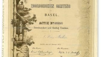Eine «Actie» des Basler Zoologischen Gartens der ersten Stunde, datiert auf den 20. Februar 1872.