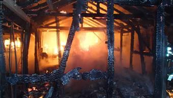 Scheune neben Rebberg in Tegerfelden wird durch Brand zerstört
