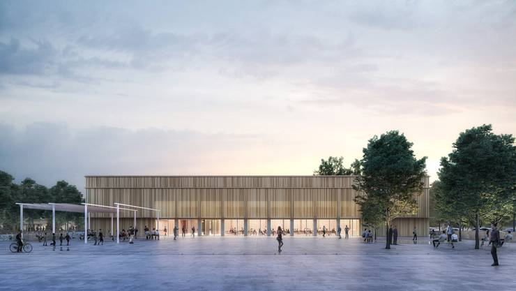 Blick vom neuen Dorfplatz auf die Mehrzweckhalle: So soll der neue Dorfkern in Zukunft aussehen.