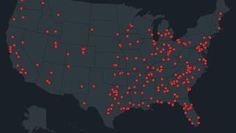 Seit 2013 wird jeder Vorfall mit Schusswaffen an Schulen auf der Grafik notiert. Die so entstandene Karte spricht Bände.